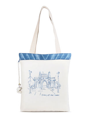 Ivory Gateway of India Embroidered Cotton Tote