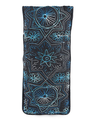 Black-Blue Thread-Embroidered Cotton Spectacle Case