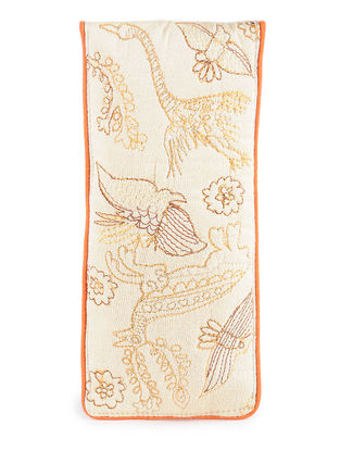 Ivory-Yellow Thread-Embroidered Cotton Spectacle Case