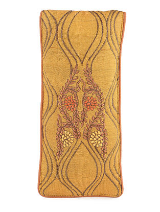 Mustard Thread-Embroidered Cotton Spectacle Case