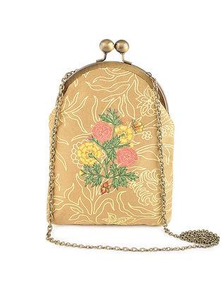 Yellow Thread-Embroidered Printed Cotton Batuwa Sling