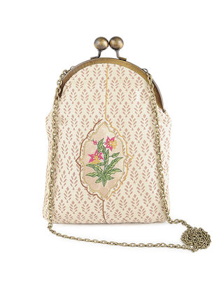 Ivory-Brown Thread-Embroidered Printed Cotton Batuwa Sling