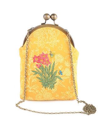 Mauve Thread-Embroidered Printed Cotton Batuwa Sling