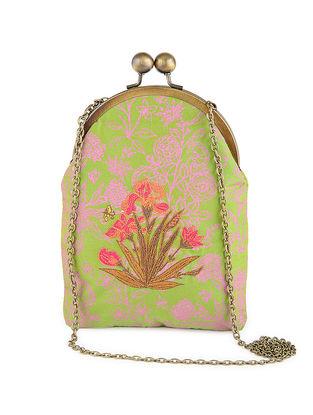 Green-Mauve Thread-Embroidered Printed Cotton Batuwa Sling