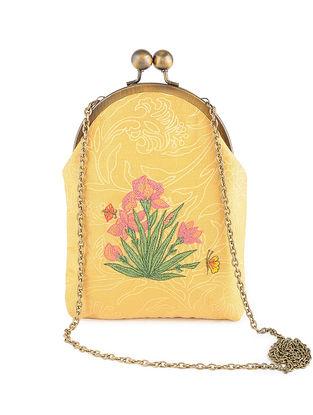 Mustard Thread-Embroidered Printed Cotton Batuwa Sling