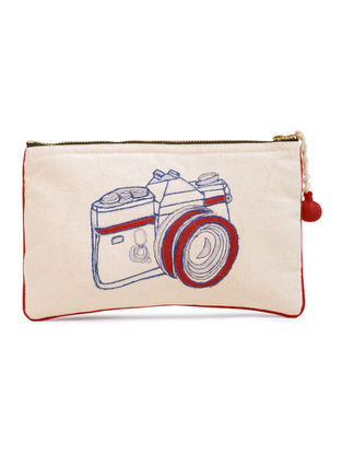 Ivory-Red Camera Embroidered Cotton Pouch