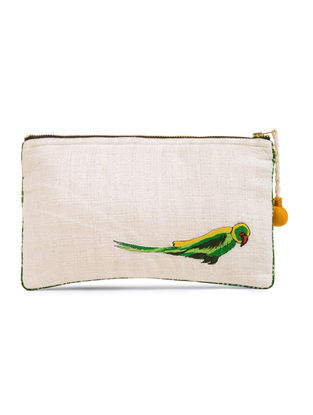 Ivory-Green Tota Emboidered Cotton Pouch