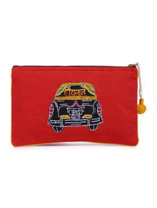Red-Black Taxi Embroidered Cotton Pouch