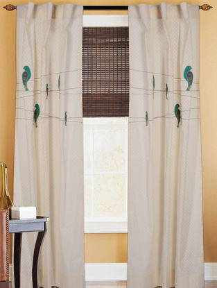 Ivory Panchhi Cotton Jacquard Patch And Dori Embroidered Sheer Curtain