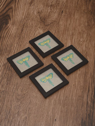 Dragonfly Embroidered Patch Coasters (Set of 4) 4.2in x 4.2in