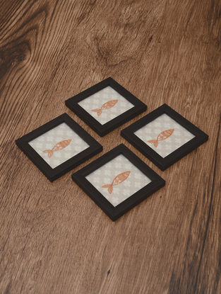Matsya Embroidered Patch Coasters (Set of 4) 4.2in x 4.2in