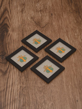 Bumblebee Embroidered Patch Coasters (Set of 4) 4.2in x 4.2in