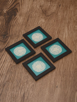 Medallion Embroidered Patch Coasters (Set of 4) 4.2in x 4.2in