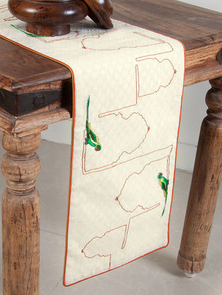 Jharokha-Tota Dori Embroidered And Patchwork On Jacquard Table Runner 60in x 12in