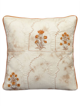 Meharan Embossed Dori Embroidered On Tie Dyed Silk Cushion Cover 16in x 16in