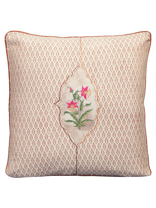 Padmini Embossed Dori Embroidered On Tie Dyed Silk Patch Cushion Cover 16in x 16in