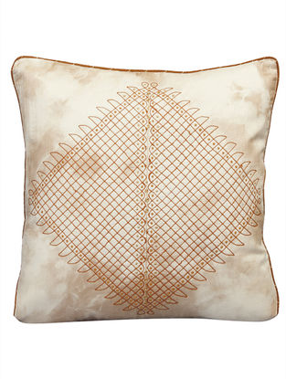 Antariksh Dori Embroidery On Tie Dyed Silk Cushion Cover 16in x 16in