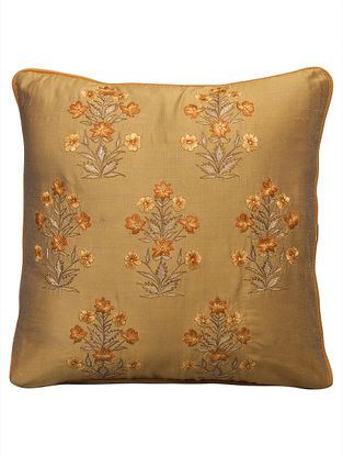 Golbagh Embroidery On Cotton Viscose With Interseting Double Piping Cushion Cover 16in x 16in