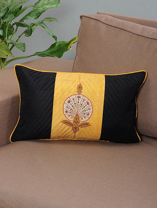 Pinjore Black-Yellow Embroidered Patchwork Quilted Cotton Cushion Cover with Piping