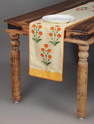Gaaffur Ivory-Orange Embroidered Cotton and Silk Table Runner with Piping and Quilted Border