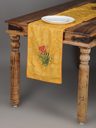 Sadabahar Mustard-Green Printed and Embroidered Cotton Table Runner