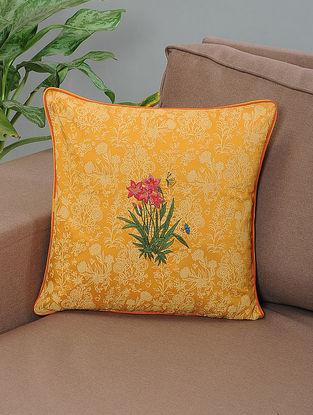 Sadabahar Mustard-Green Printed and Embroidered Cotton Cushion Cover
