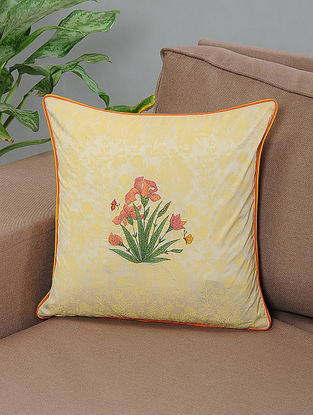 Maswal Ivory-Yellow Printed and Embroidered Cotton Cushion Cover