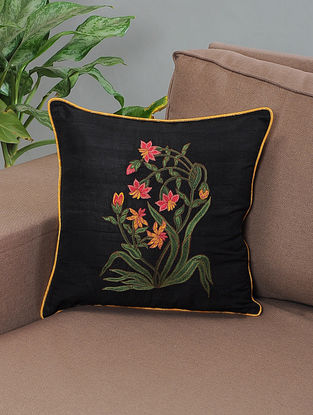 Mahtab Black-Pink Embroidered Silk Cushion Cover with Piping