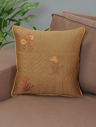 Charbagh Brown-Pink Embroidered Quilted Cotton Cushion Cover with Piping