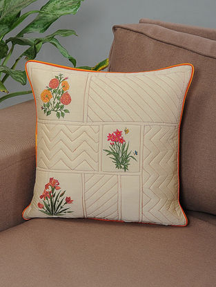 Charbagh Beige-Multicolor Embroidered Quilted Cotton Cushion Cover with Piping