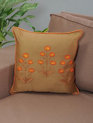 Gaaffur Brown-Orange Embroidered Cotton Cushion Cover with Piping
