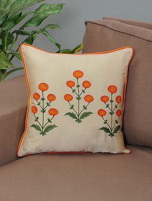 Gaaffur Ivory-Orange Embroidered Cotton Cushion Cover with Piping