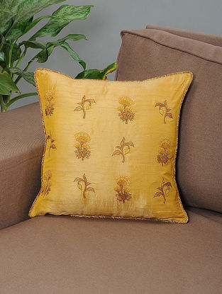 Khusro Mustard-Brown Embroidered Silk Cushion Cover with Piping