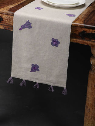 Jacaranda Buti Off White-Purple Embroidered Linen Table Runner with Patch Work (60in x 12in)