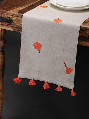 Gulmohar Buti Off White-Orange Embroidered Linen Table Runner with Patch Work (60in x 12in)