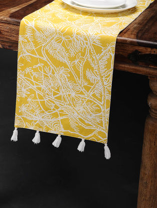 Amaltas Yellow-White Printed Cotton Table Runner (60in x 12in)