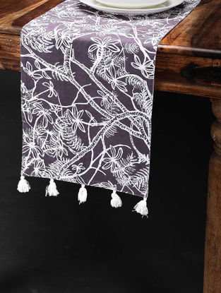Jacaranda Purple-White Printed Cotton Table Runner (60in x 12in)