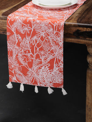 Palash Red-White Printed Cotton Table Runner (60in x 12in)