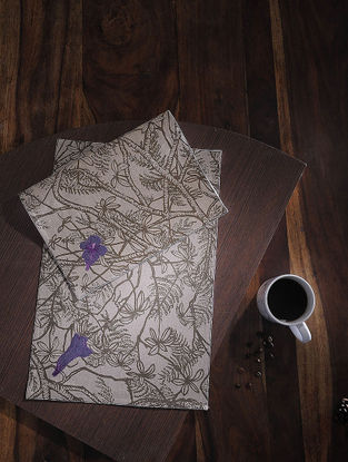 Jacaranda Buti Purple Printed and Embroidered Linen Table Mats (Set of 6) (18in x 12in)