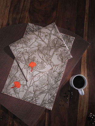 Gulmohar Buti Red Printed and Embroidered Linen Table Mats (Set of 6) (18in x 12in)