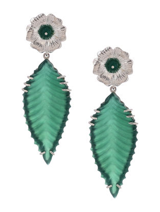 Green Quartz Silver Earrings with Floral Design