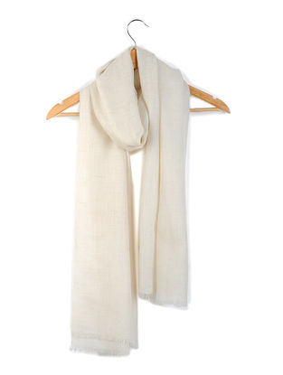 Ivory Organic Pashmina Stole with Diamond Weave