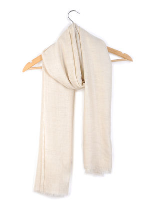 Ivory Organic Pashmina Stole with Fishbone Weave