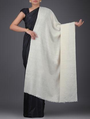 Ivory Organic Pashmina with Shawl Fishbone Weave