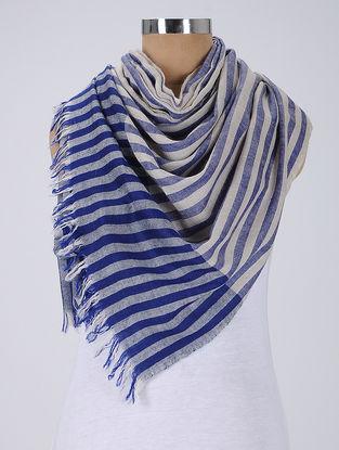 Ivory-Blue Pashmina Stole