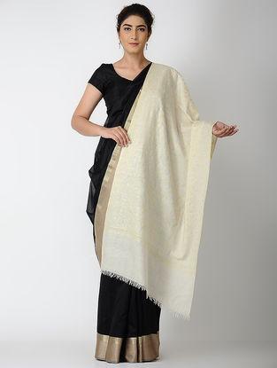 Ivory-Yellow Sozni Embroidered Pashmina Stole