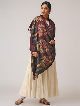 Maroon-Yellow Kani Pashmina Shawl