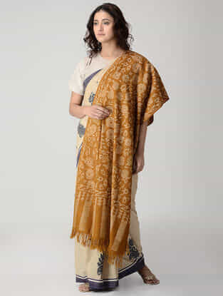 Mustard-Ivory Kani Pashmina Shawl