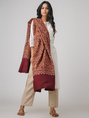 Maroon-Orange Sozni-embroidered Pashmina/Cashmere Shawl