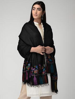 Black-Purple Pashmina Cashmere Kani Shawl